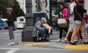 A homeless man on the streets of San Francisco. Almost a quarter of the US's homeless live in Califo